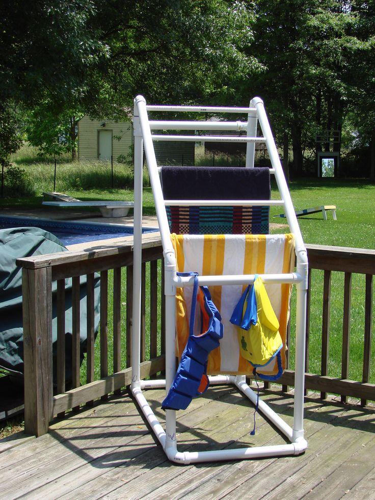 PVC pool towel holder- like the idea to hold fabric