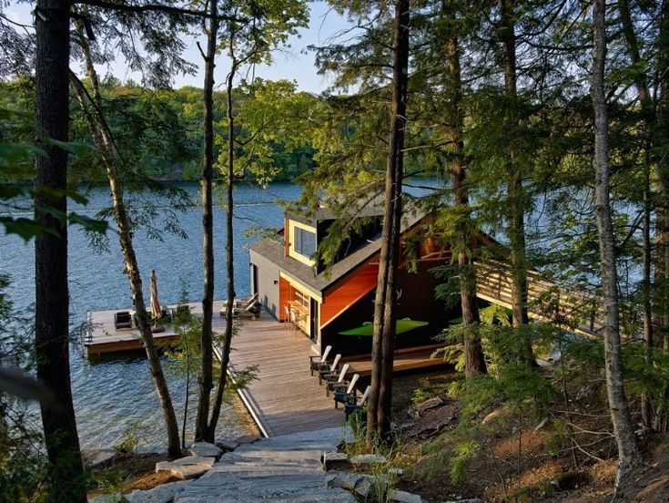 New York State Lake Joseph Boathouse By Altius Architecture   A Floating  House With Direct Water Access Underneath   How Cool!