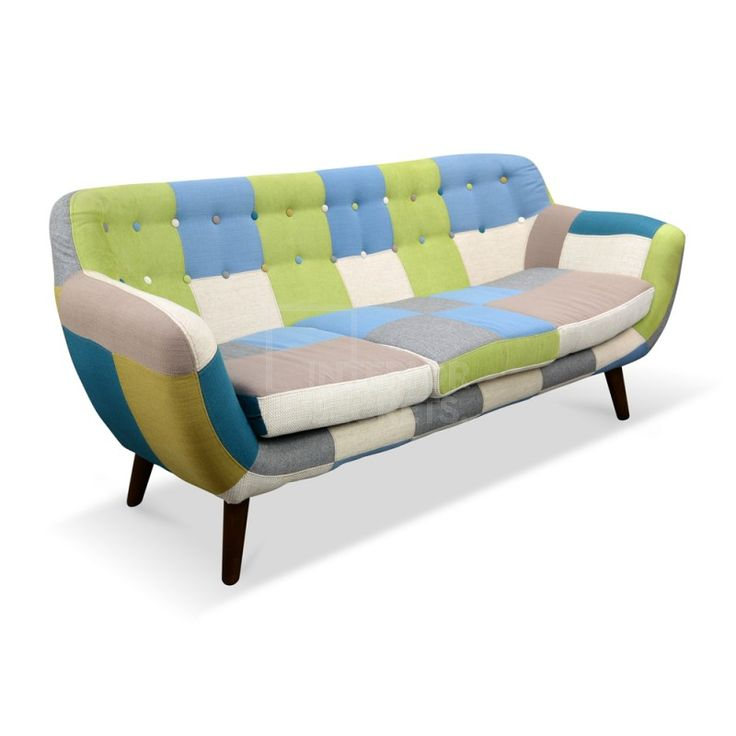 Oskar 3 Seater Multicolor Patch Work Sofa