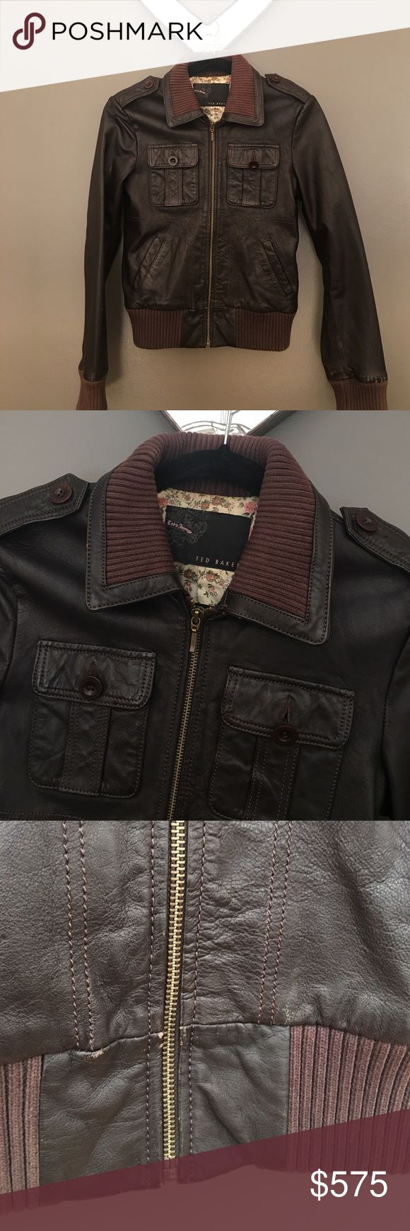 Ted Baker Leather Bomber Jacket Deep brown thick leather jacket with ribbing detail at collar, sleeves & waistline. Lined with a pretty floral print. Pre-loved but still in very excellent condition with few minor flaws. Left pocket button loose but can be easily sewed tightly & few leather scratches shown in pics. This jacket would wear nicely overtime and become nicely distressed. For reference I am 5'1 113 lbs 34C & 25/26waist Ted Baker Jackets & Coats