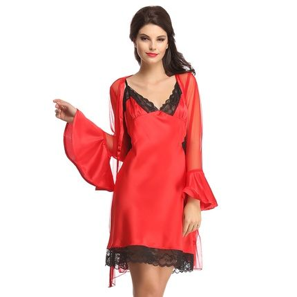 Bridal SHORT NIGHT DRESS IN RED