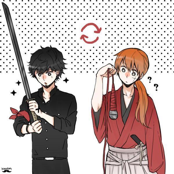 The buddies, Taka of ONE OK ROCK and Satoh Takeru (Kenshin), have interchanged.