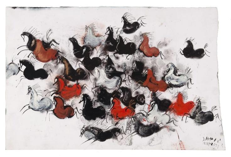 Wild horses by Józef Wilkoń