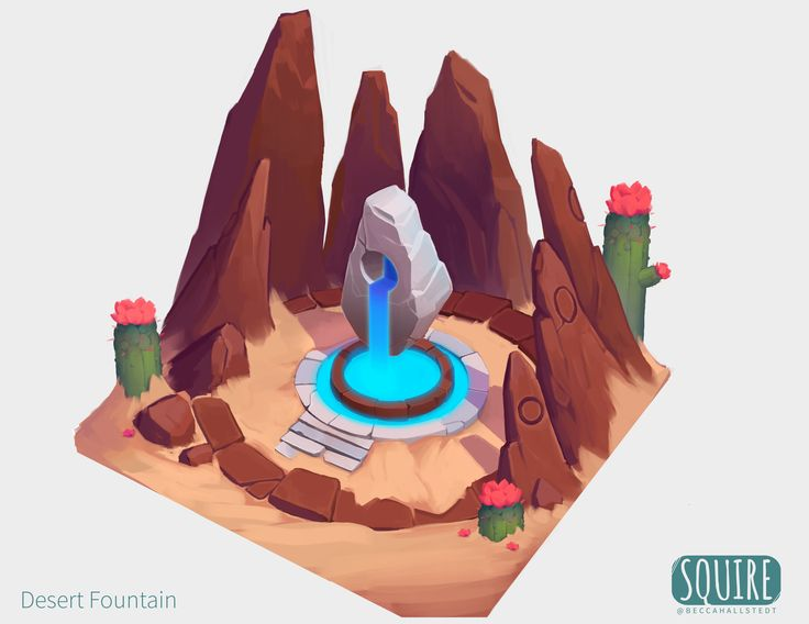 Concept for a healing fountain that you'd find in the desert biome of Squire. A rare but essential oasis, it refreshes weary, sun-worn travelers as they journey between scattered cities.