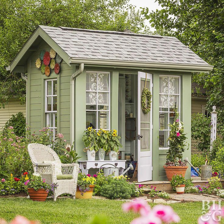 This cottage potting shed takes design cues from the main