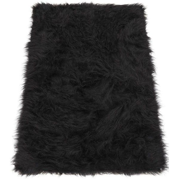Faux Mongolian Fur Rug ($17) ❤ liked on Polyvore featuring home, rugs, black area rugs, faux fur area rug, gray rug, black white rug and machine wash rugs