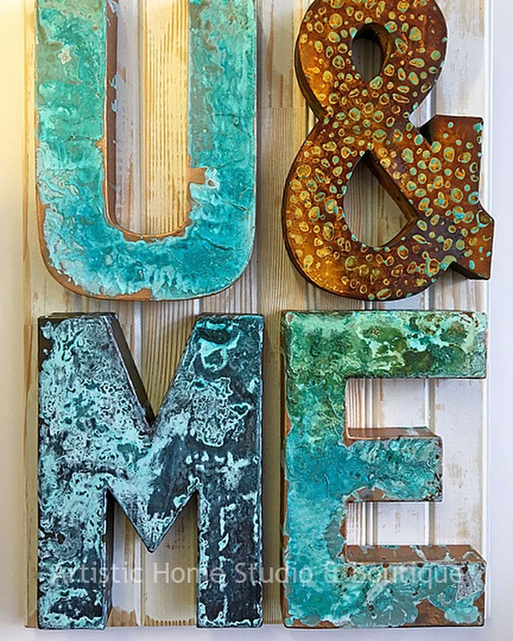 Home Decor Letter patinated with Modern Masters Metal Effects! The oxidized home decor lettering is a perfect project for Valentine's Day and beyond! Photo: Artistic Home Studio & Boutique