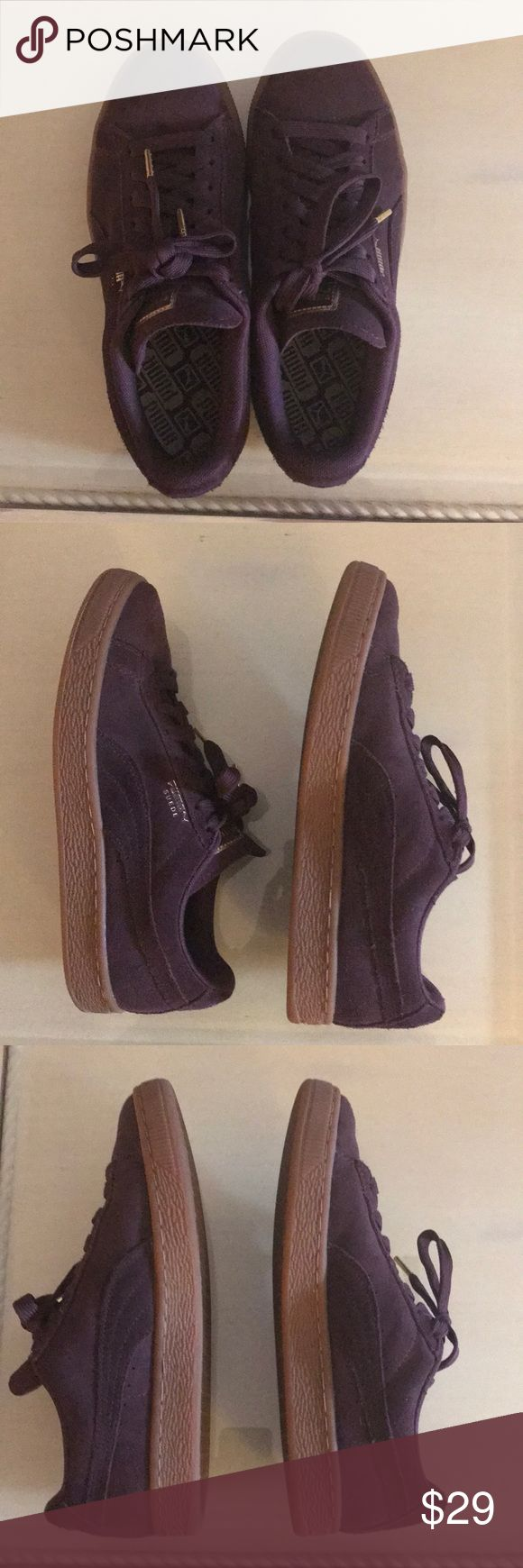 Puma suede gold classic red wine color Suede upper Lace closure for a snug fit Rubber outsole for grip PUMA Formstrip at both sides PUMA Suede callout in gold print at lateral side Gold print PUMA Logo label at tongue and PUMA Cat Logo at heel Puma Shoes Sneakers