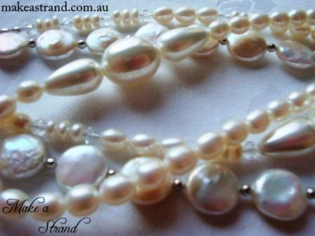 A selection of cream & white jewellery designed & created by Amanda Webb of Make a Strand