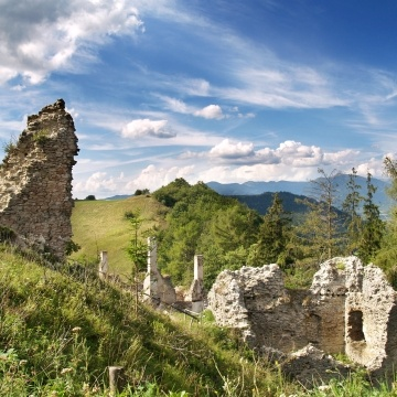 Ruined Sklabina Castle and manor house located near Sklabinsky Podzamok in Turiec region in Slovakia. The Castle is now opened to public and is undergoing the renovation by group of young enthusiasts.