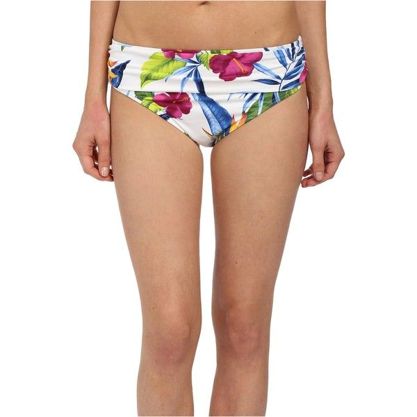 Tommy Bahama Happy Hibiscus High Waist Sash Swim Bottoms Women's... ($35) ❤ liked on Polyvore featuring swimwear, bikinis, bikini bottoms, white, ruched bikini, ruched bottom bikini, high waisted bikini, scrunch bikini and white high waisted bikini