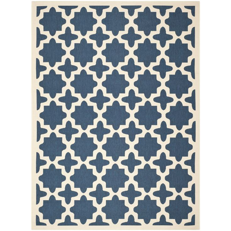 This Safavieh indoor outdoor rug provides your living room with an elegant, simple centerpiece. The beige background is accented with blue designs. Made of polypropylene, the rug is easy to clean and durable enough for both indoor and outdoor settings