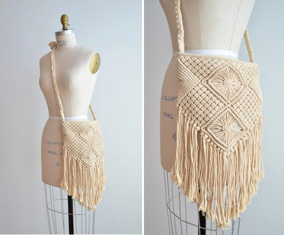 Vintage macrame bag with long fringe by storyofthings on Etsy, $49.00