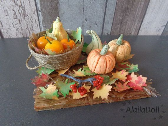 Miniature autumn decor, autumn decorations, mini pumpkin, halloween, scale 1:12, miniature scale, home decor, dollroom, dollhouse, leaves  Size is 7 cm (2.8 inch) x 5,5 cm (2.2 inch) long.