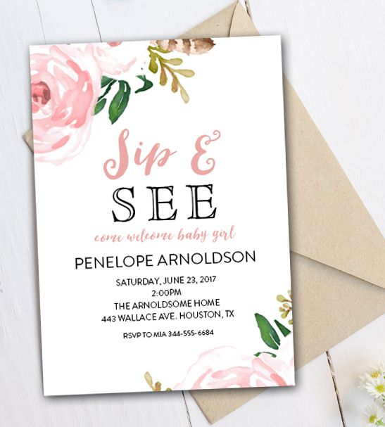 Editable Sip and See Invitation DIY - Watercolor Flowers - Instant Download - PDF Template Printable