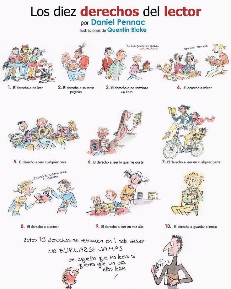 LOS DIEZ DERECHOS DEL LECTOR: 10, Reading, Reading, Daniel Pennac, Reader, Ten, Right, 10 Derecho, Diez Derecho