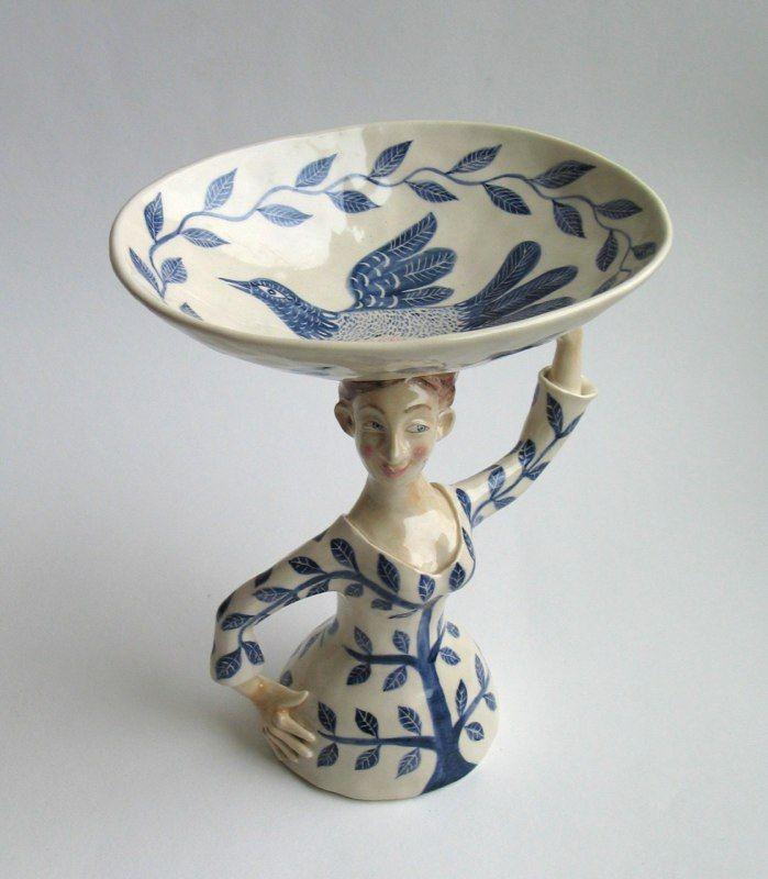 'Tree Woman and Bird bowl' by Scottish ceramic artist Helen Kemp. via Venice…