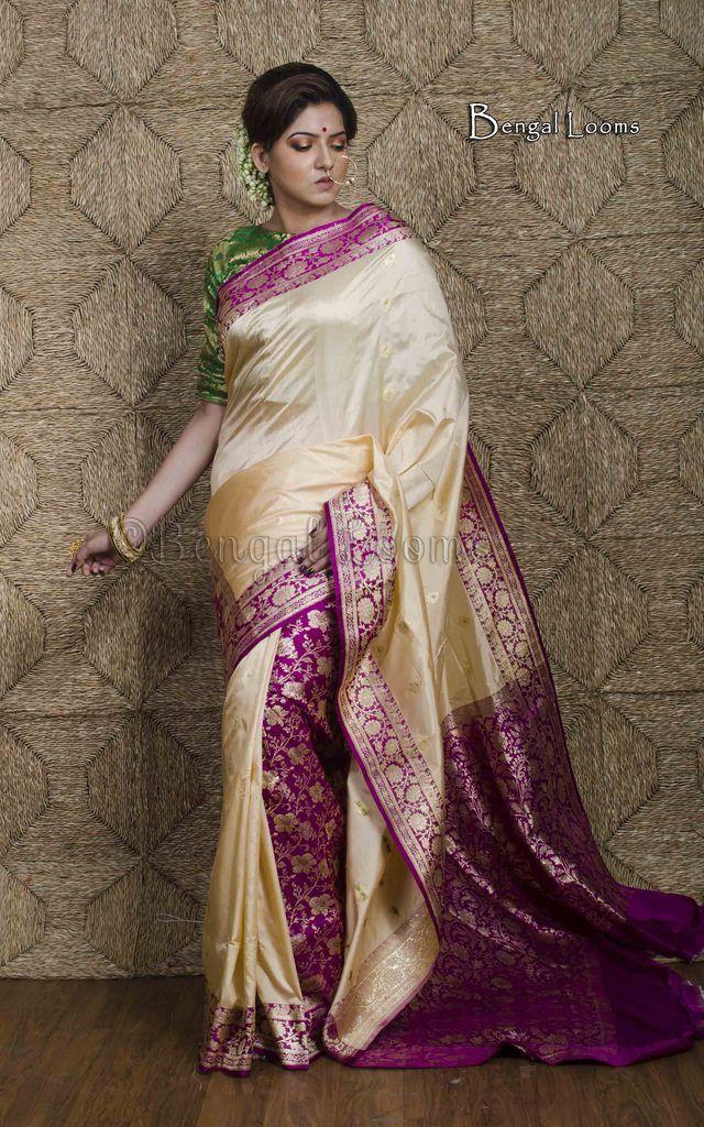 739abfd572 Korial Banarasi Silk Patli Pallu Saree in Cream and Purple ...