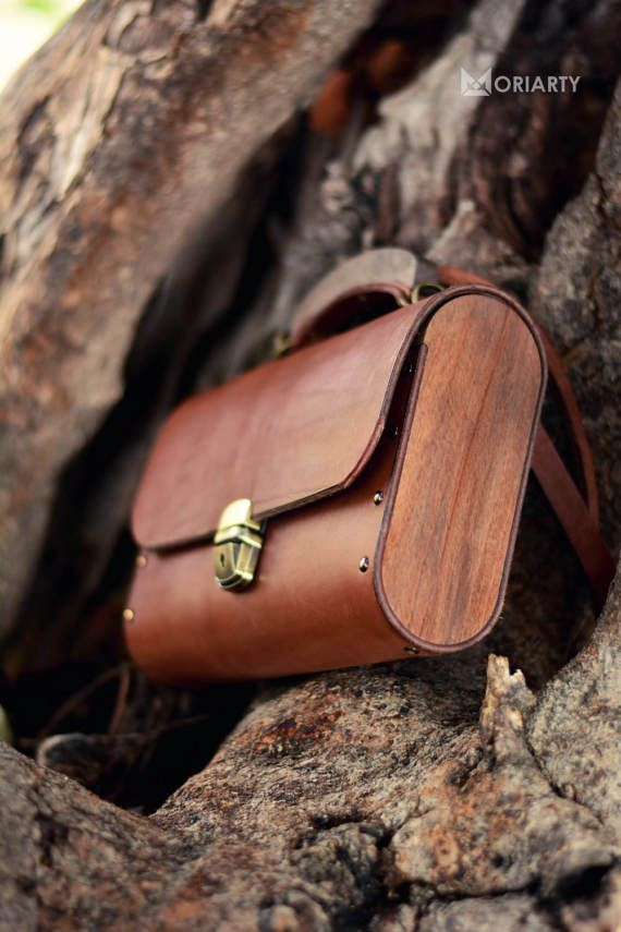 womens leather shoulder bag Ladies leather bag Big Brown Moriarty leather and wood bag wood bag