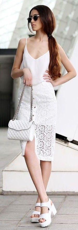 #spring #fashion | White Tank + White Lace Skirt | Tina Sizonova                                                                             Source