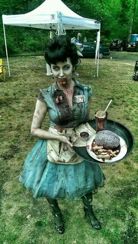 Halloween zombie 50's waitress costume.