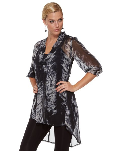 #NewandNow A three-quarter length sleeve top with an over-sized print.