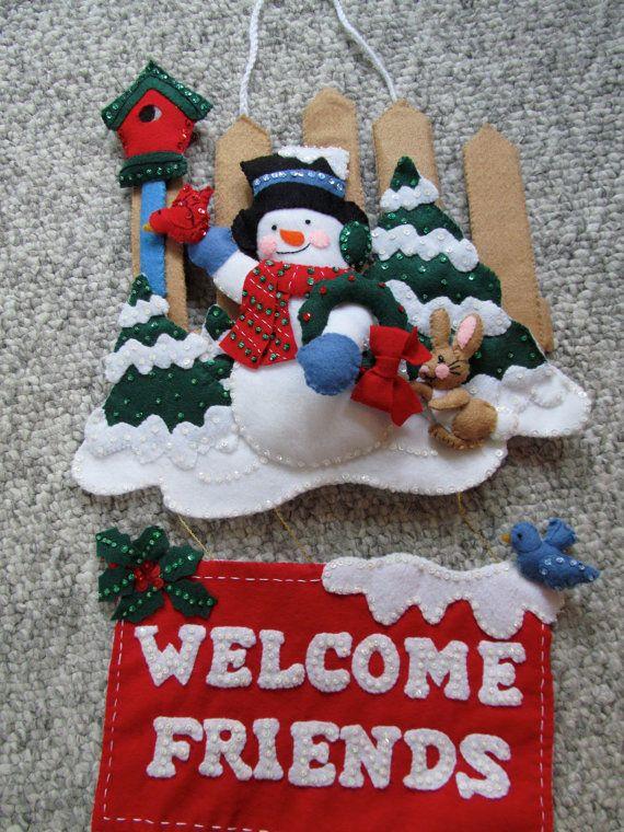 Welcome Friends Snowman Felt Wall Hanging by GrandmasStitchings