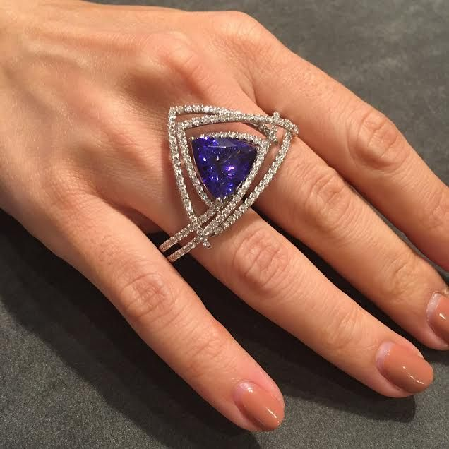 Feminine, three-dimensional chic geometry ring with Diamonds and Tanzanite at Couture 2016 LasVegas