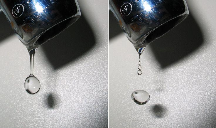 Crees que las gotas de lluvia tienen forma de lágrima? Gotas de agua saliendo de un grifo. Se puede comprobar claramente sus diversas formas. Lo que creemos y lo que es  Todos cuando dibujamos una gota de agua de lluvia lo hacemos dándole la forma de una lágrima. Sin embargo debo desengañarte: las gotas de agua no se parecen en nada a las lágrimas salvo cuando resbalan por el cristal de una ventana.  Las gotas pequeñas de agua de lluvia son esféricas. Al aumentar de tamaño se acaban…