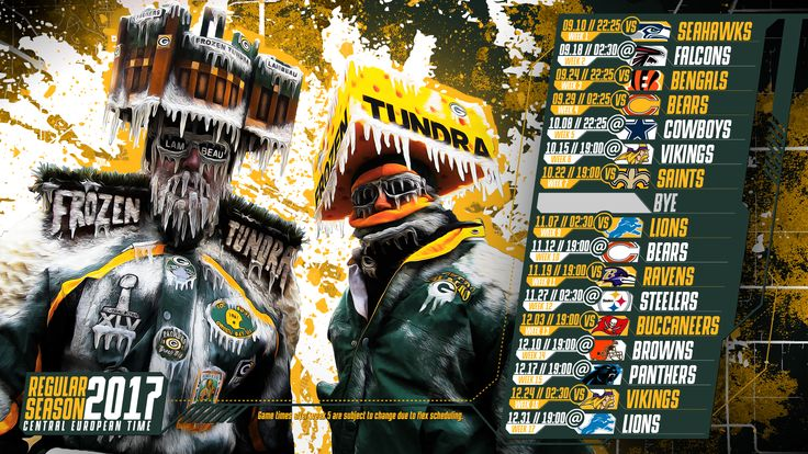 Schedule wallpaper for the Green Bay Packers Regular Season, 2017 Central European Time. Made by #tgersdiy