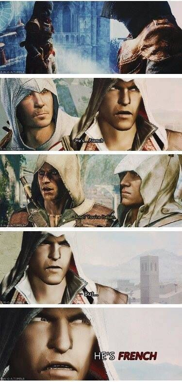 Assassin humor [[Ezio doesn't like the French, and for good reason!]]