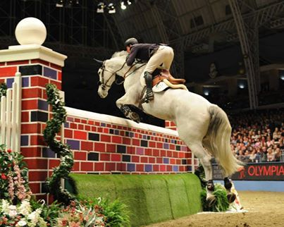 Guy Williams is 2nd in the Puissance Challenge at the Olympia Horse Show. Of course protected by KEP!