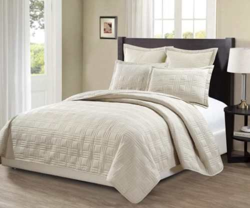 King-California-king-over-size-3-pc-Bedspread-Bed-cover-Quilted-Embroidery-Beige