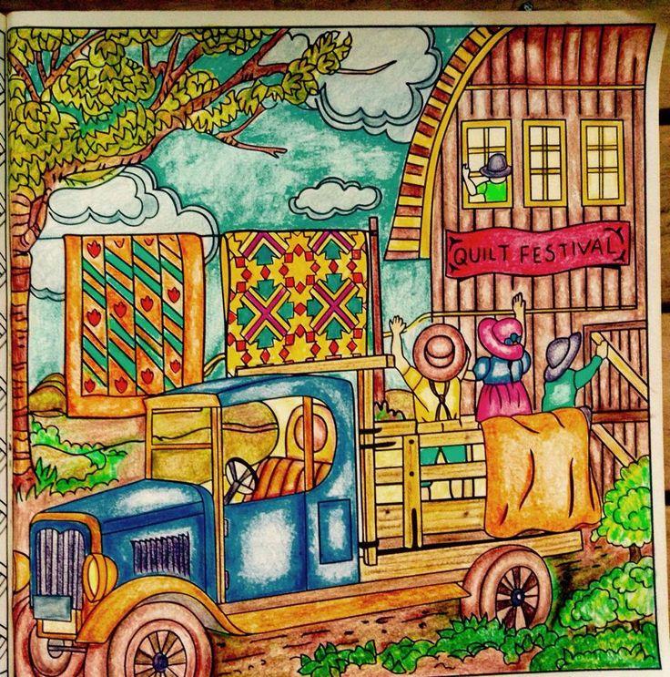 Desenho do livro Pinte o Quilt no Campo colorido pela Sandra Regina.