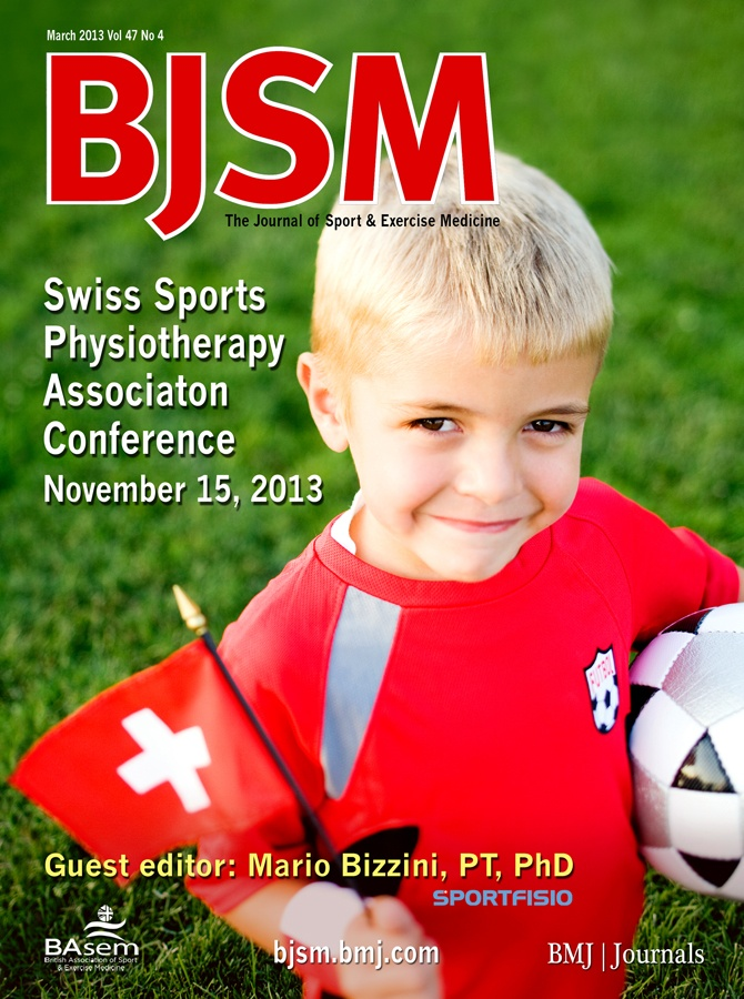 "BJSM Volume 47 Issue 4 | March 2013 ~ Swiss Sports Physiotherapy Association Conference 15 November 2013  The Swiss Sports Physiotherapy Association (SSPA) is a non-profit organization, which members are registered physiotherapists with a specialization and/or an involvement in sports physical therapy in Switzerland. The main event of SSPA is the annual symposium, which takes place in November and has been a Bern (capital of Switzerland) ""tradition"" since 2005.http://sportfisio-symposium.ch/"