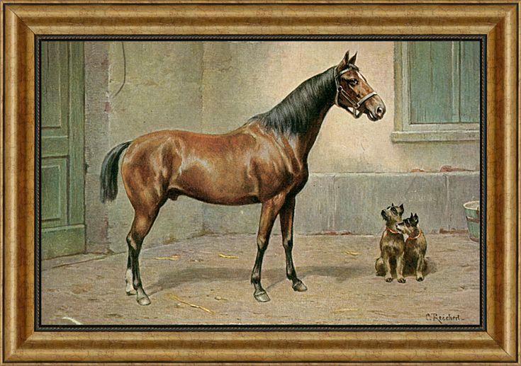 Reprodukce starého obrazu koně se psy.