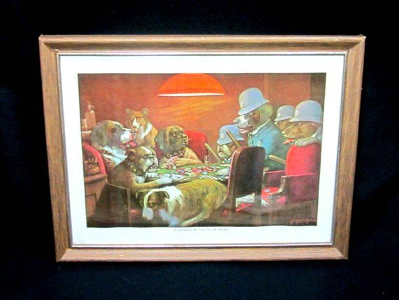 Dogs Playing Poker Picture Pinched With Four Aces Lithograph Bar Mancave Game Room Dogs Playing Poker Shabby Chic Cottage Vintage Dog