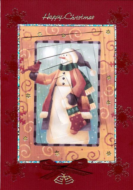Happy Snowman Twisted on Craftsuprint designed by Diane Furniss - made by Bodil Lundahl - Printed, cutted and layered the twisted pyramid. Mounted it on a dark red card and framed it with multi coloured shining sticker lines. Covered the printed starts with goldstars. Added a dark red bow and two gold sticker bells along with transparent, multicoloured plastic iceflowers and a golden Happy Christmas. It's a very cute snowman, and the card is very easy to make. - Now available for download!