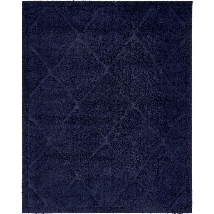 Unique Trellis Solid Grey/Off-White Shag Area Rug (8' x 10') (Off-White - Blue - Shag), Size 8' x 10'