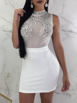 38e1b71956 Shiny Embellished Mesh Splicing Bodycon Dress in 2018