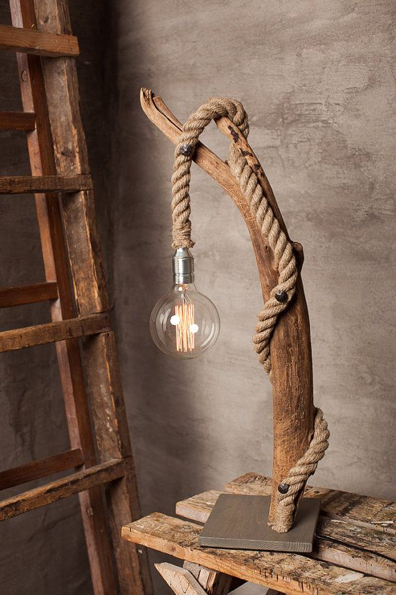 Large Driftwood lamp with round Edison bulb. Home by Glighthouse