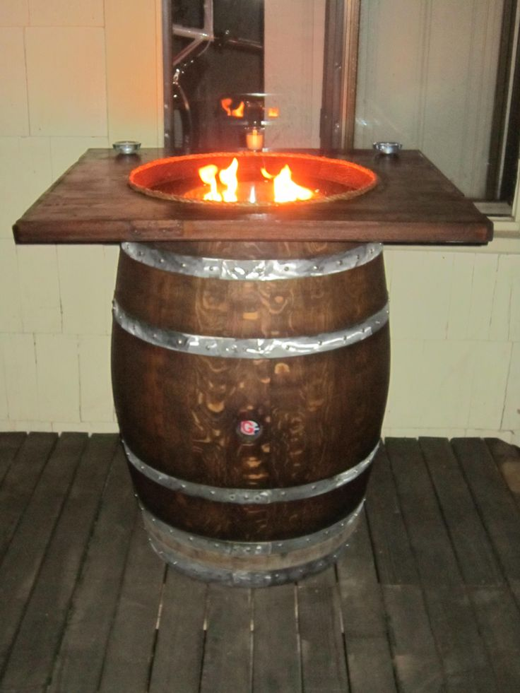 wine barrel ideas | Wine Barrel Fire Pit Full Size Barrel 38″ Tall
