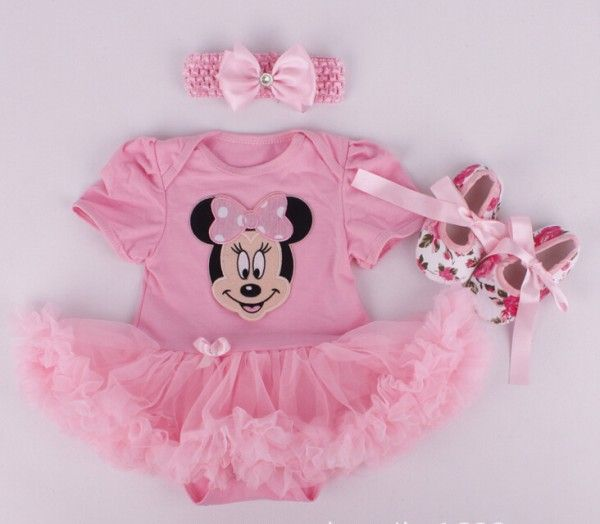 2015 Baby Girl Infant 3pcs Clothing Sets Tutu Romper Dress/Jumpersuit+Headband+Shoes Christmas Bebe Birthday Costumes Vestidos