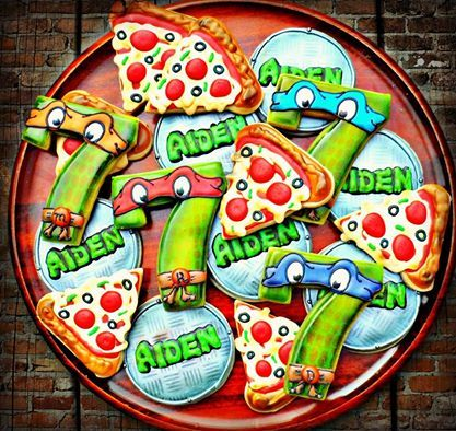 Ninja Turtle Cookies~ By Vickie sweet tweets, pizza cookies, number, Orange, blue, green