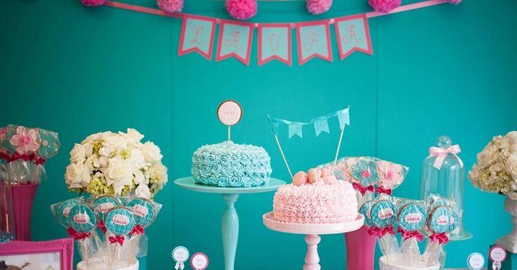 Festa Infantil Vintage Azul E Rosa | Din Din Presentes