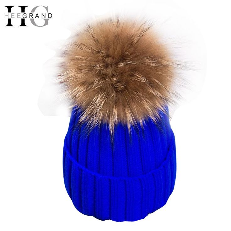 HEE GRAND 2016 Winter Wool Knitted Beanies Caps Fashion Women Fur Pompom Beanie Hats Red Thick Christmas Hats For Women  PMM301