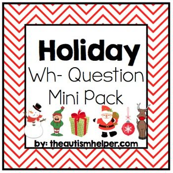 This mini pack is a fun way to help your students learn how to successfully answer who, what, where, when, and why questions in a fun holiday theme! This skill can be a struggle for children with autism, cognitive impairments, or speech disorders. Using visuals, multiple examples, and structure will allow students to learn this skill successfully with this resource!