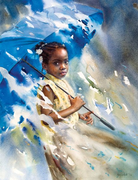 """""""Blue Umbrella"""" by Mary Whyte. Take note of this watercolorist. She is TOTALLY amazing. LOVE her work! <3 ... it's brilliant!"""