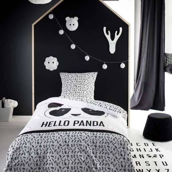 Parure De Lit 1 Personne Imprime Panda Blanc Noir Linge De Lit Kiabi Parure De Lit Parure De Lit Enfant Parrure De Lit