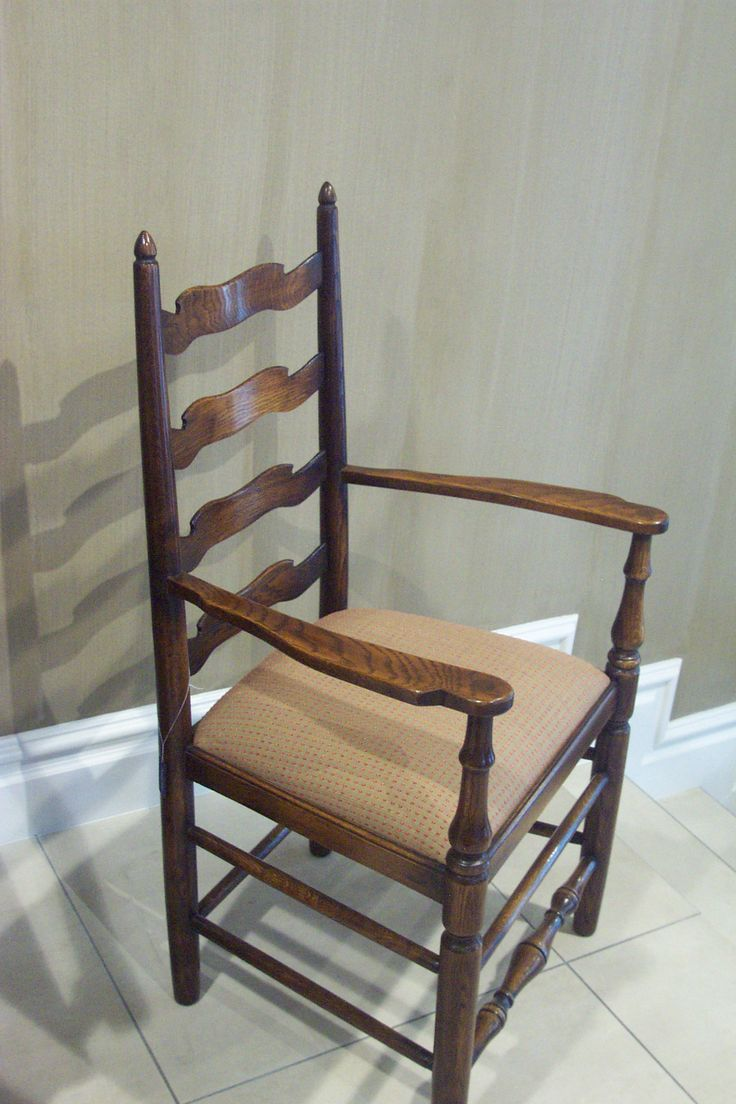 Waveline Ladderback Carver Chair - French Oak - Fabric of choice